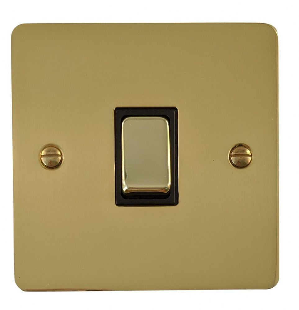 G&H FB301 Flat Plate Polished Brass 1 Gang 1 or 2 Way Rocker Light Switch
